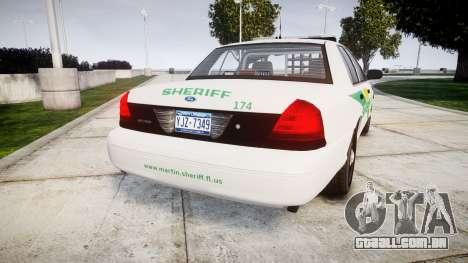 Ford Crown Victoria Martin County Sheriff [ELS] para GTA 4 traseira esquerda vista