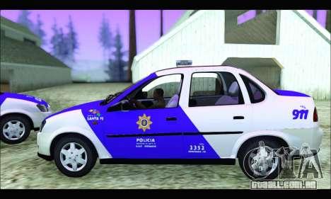 Chevrolet Corsa Classic Policia de Santa Fe para GTA San Andreas traseira esquerda vista