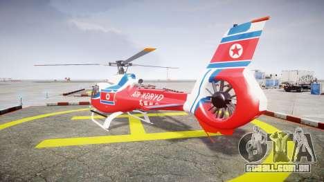 Eurocopter EC130 B4 Air Koryo para GTA 4 traseira esquerda vista