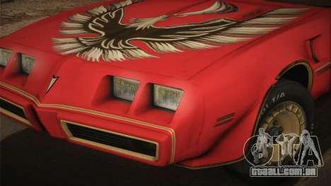 Pontiac Turbo Trans Am 1980 Bandit Edition para GTA San Andreas traseira esquerda vista