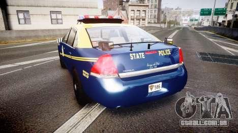 Chevrolet Impala West Virginia State Police ELS para GTA 4 traseira esquerda vista