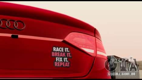 Audi S4 2010 Blacktop para GTA San Andreas vista traseira