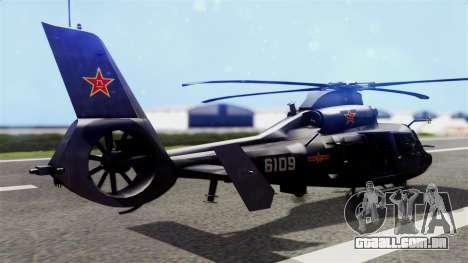 Harbin Z-9 BF4 para GTA San Andreas esquerda vista