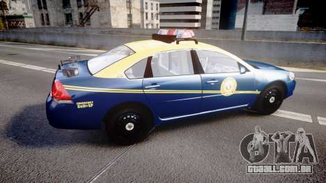 Chevrolet Impala West Virginia State Police ELS para GTA 4 esquerda vista