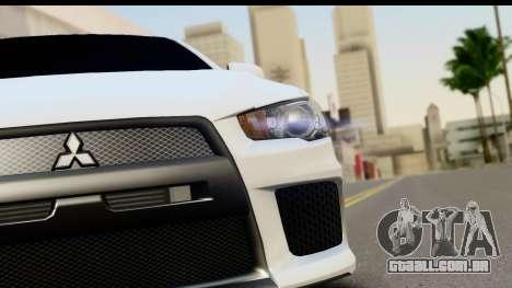 Mitsubishi Lancer X RE-Racing Edition para GTA San Andreas vista traseira