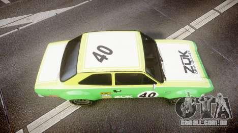 Ford Escort RS1600 PJ40 para GTA 4 vista direita