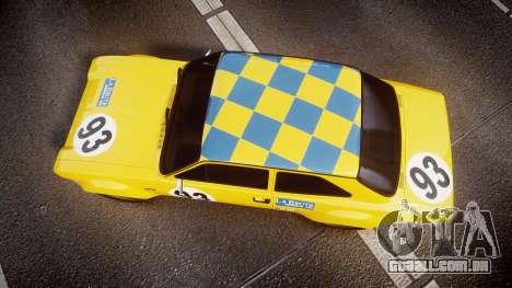 Ford Escort RS1600 PJ93 para GTA 4 vista direita