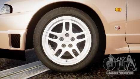 Nissan Skyline R33 GT-R V.spec 1995 para GTA 4 vista de volta