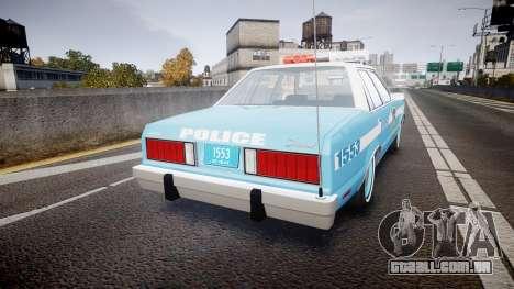 Ford Fairmont 1978 Police v1.1 para GTA 4 traseira esquerda vista