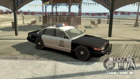 GTA V Vapid Stanier Police Cruiser para GTA 4 esquerda vista