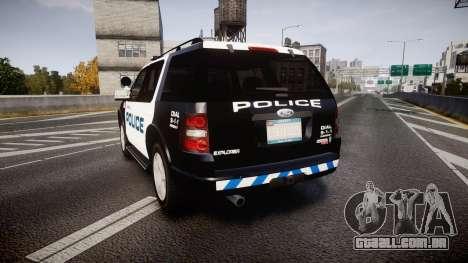 Ford Explorer 2008 Police [ELS] para GTA 4 traseira esquerda vista