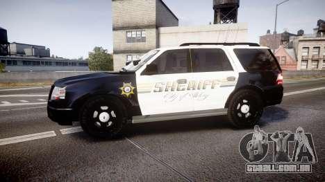 Ford Expedition 2010 Sheriff [ELS] para GTA 4 esquerda vista