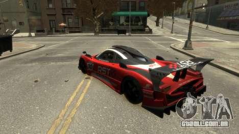 Pagani Zonda R para GTA 4 vista interior