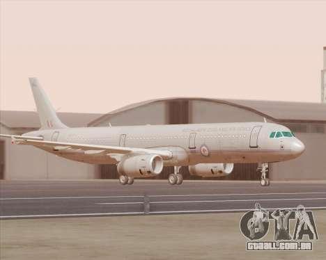 Airbus A321-200 Royal New Zealand Air Force para GTA San Andreas esquerda vista
