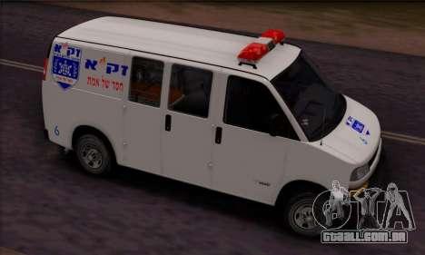 Chevrolet Exspress Ambulance para GTA San Andreas esquerda vista