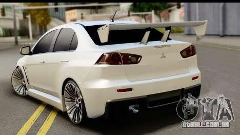 Mitsubishi Lancer X RE-Racing Edition para GTA San Andreas esquerda vista