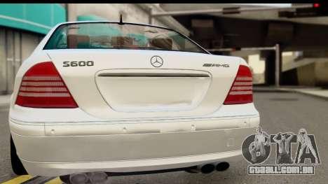 Mercedes-Benz S600 AMG para GTA San Andreas traseira esquerda vista