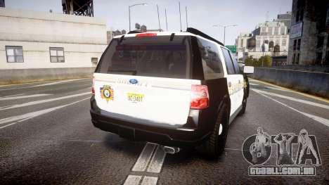 Ford Expedition 2010 Sheriff [ELS] para GTA 4 traseira esquerda vista