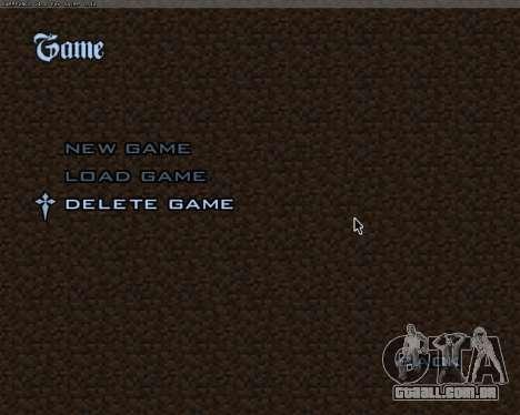 Minecraft Menu para GTA San Andreas por diante tela