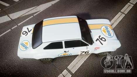 Ford Escort RS1600 PJ76 para GTA 4 vista direita