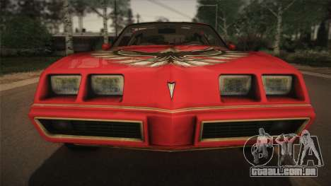 Pontiac Turbo Trans Am 1980 Bandit Edition para GTA San Andreas vista interior