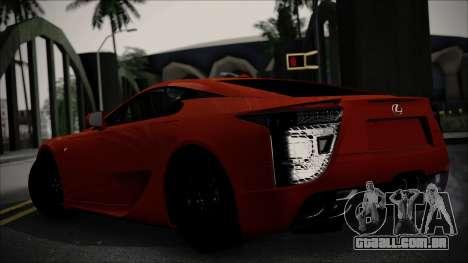 Lexus LFA para GTA San Andreas traseira esquerda vista
