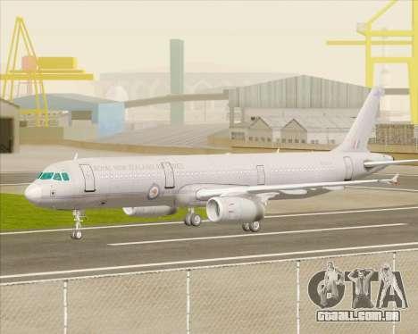 Airbus A321-200 Royal New Zealand Air Force para GTA San Andreas vista traseira