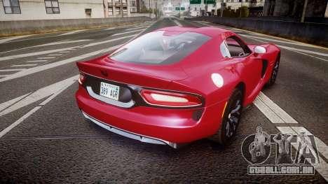 Dodge Viper SRT 2012 para GTA 4 traseira esquerda vista