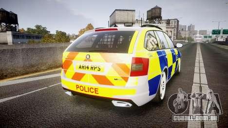 Skoda Octavia Combi vRS 2014 [ELS] ANPR&Area para GTA 4 traseira esquerda vista