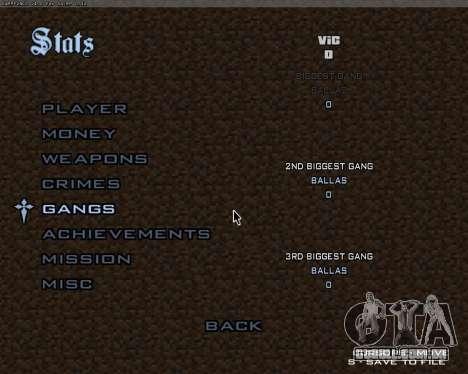 Minecraft Menu para GTA San Andreas terceira tela