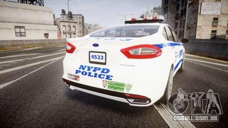 Ford Fusion 2014 NYPD [ELS] para GTA 4 traseira esquerda vista