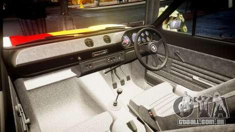 Ford Escort RS1600 PJ63 para GTA 4 vista interior