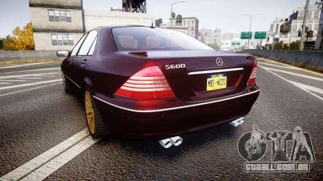 Mercedes-Benz S600 W220 para GTA 4 traseira esquerda vista