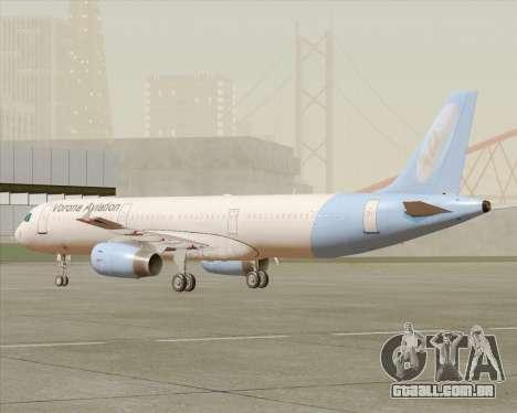 Airbus A321-200 Vorona Aviation para GTA San Andreas esquerda vista