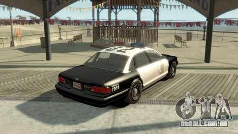 GTA V Vapid Stanier Police Cruiser para GTA 4 traseira esquerda vista