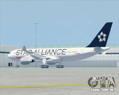 Airbus A330-200 SWISS (Star Alliance Livery) para GTA San Andreas vista traseira