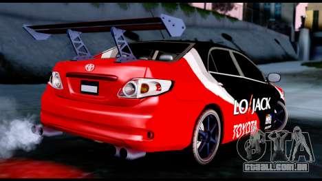 Toyota Corolla 2012 LOJACK Racing para GTA San Andreas esquerda vista