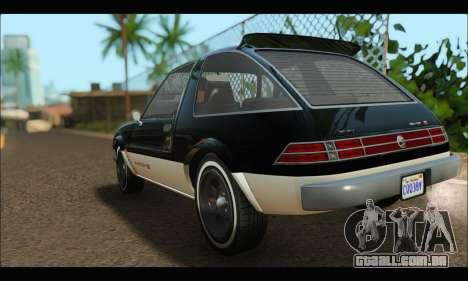 Declasse Rhapsody (GTA V) (SA Mobile) para GTA San Andreas traseira esquerda vista