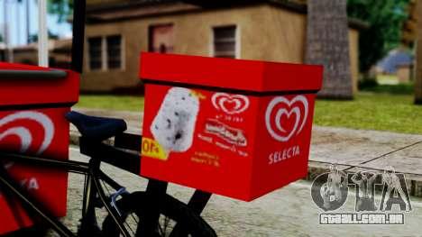 Selecta Ice Cream Bike para GTA San Andreas traseira esquerda vista