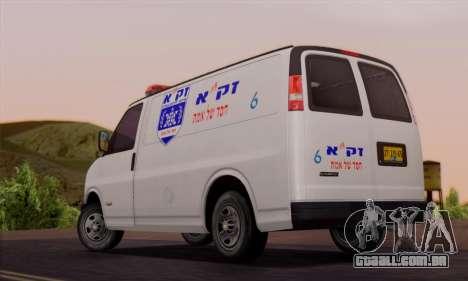 Chevrolet Exspress Ambulance para GTA San Andreas traseira esquerda vista