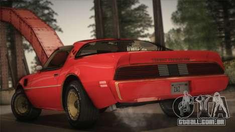 Pontiac Turbo Trans Am 1980 Bandit Edition para GTA San Andreas esquerda vista