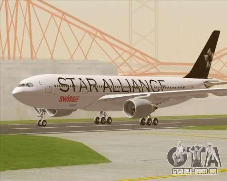 Airbus A330-200 SWISS (Star Alliance Livery) para GTA San Andreas vista interior