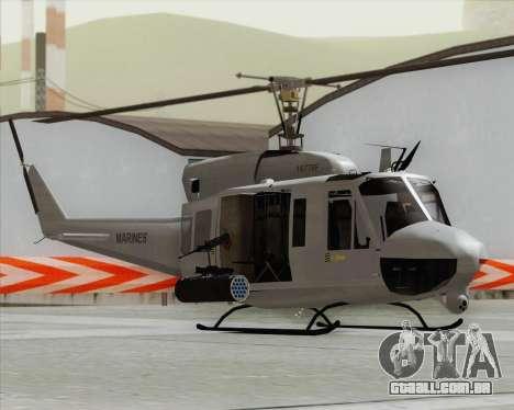 Bell UH-1N Huey USMC para GTA San Andreas traseira esquerda vista
