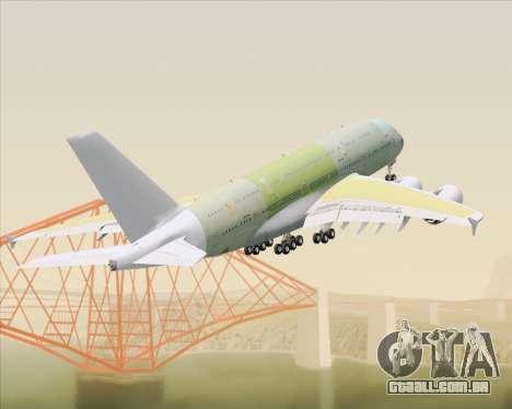 Airbus A380-800 F-WWDD Not Painted para GTA San Andreas vista inferior