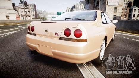 Nissan Skyline R33 GT-R V.spec 1995 para GTA 4 traseira esquerda vista
