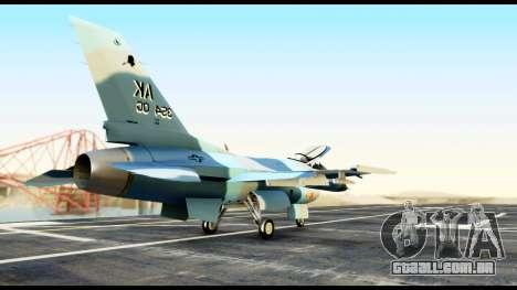 F-16 Aggressor Alaska para GTA San Andreas traseira esquerda vista