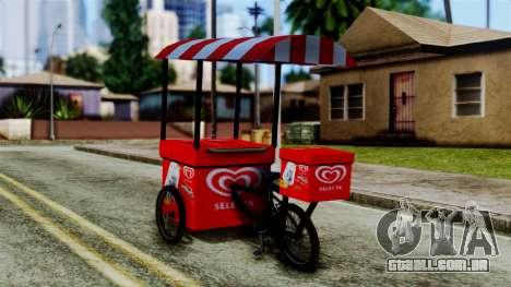 Selecta Ice Cream Bike para GTA San Andreas esquerda vista