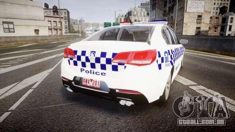 Holden VF Commodore SS Victorian Police [ELS] para GTA 4 traseira esquerda vista
