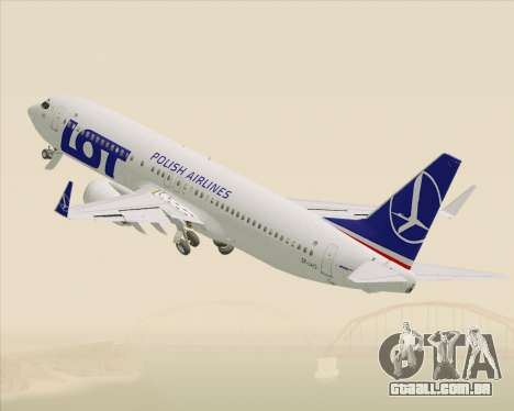 Boeing 737-800 LOT Polish Airlines para GTA San Andreas vista inferior