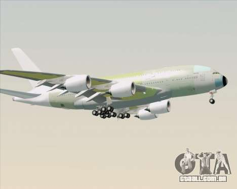 Airbus A380-800 F-WWDD Not Painted para GTA San Andreas traseira esquerda vista